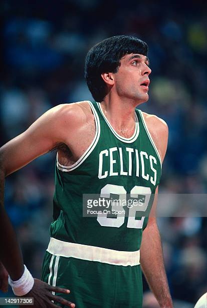 Kevin McHale of the Boston Celtics looks on against the Washington Bullets during an NBA basketball game circa 1984 at the Capital Center in Landover...