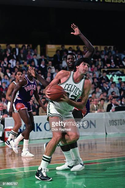 Kevin McHale of the Boston Celtics makes a move to the basket against the Phoenix Suns during a game played in 1986 at the Boston Garden in Boston...