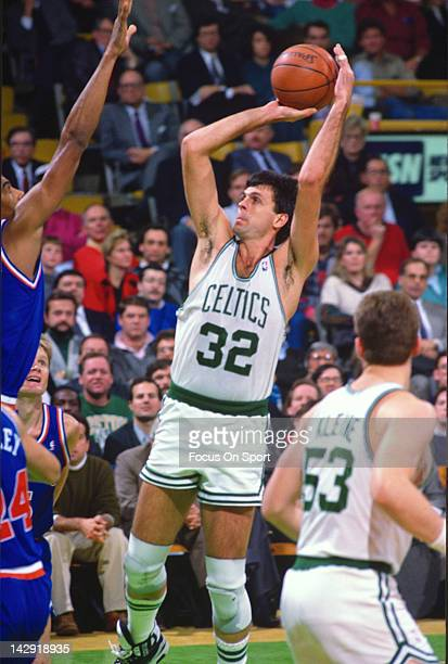 Kevin McHale of the Boston Celtics shoots against the New York Knicks during an NBA basketball game circa 1990 at the Boston Garden in Boston...