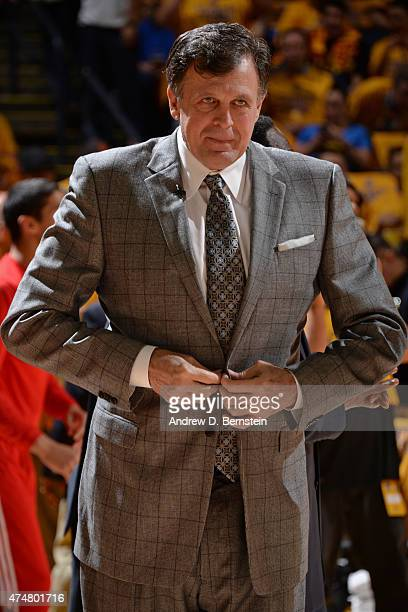 Kevin McHale of the Houston Rockets stands on the court during a game against the Golden State Warriors in Game Two of the Western Conference Finals...