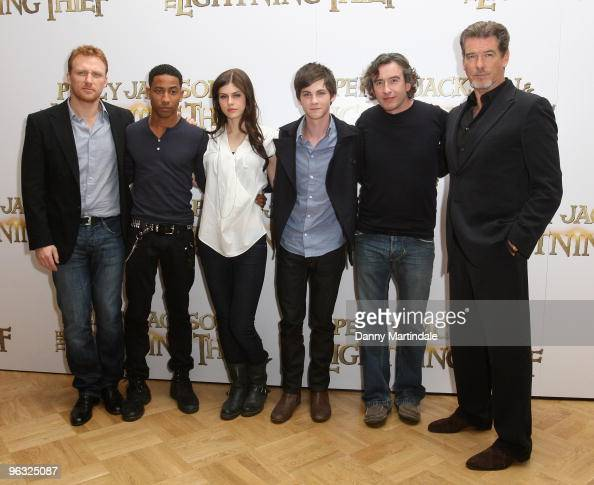 Kevin McKidd Brandon T Jackson Alexandra Daddario Logan Lerman Steve Coogan and Pierce Brosnan attend photocall for 'Percy Jackson The Lightning...