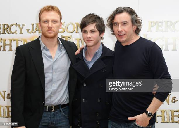 Kevin McKidd Logan Lerman and Steve Coogan attend photocall for 'Percy Jackson The Lightning Thief' on February 1 2010 in London England