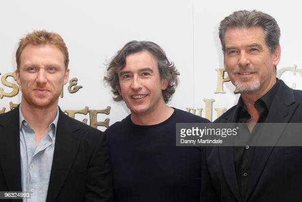 Kevin McKidd Steve Coogan and Pierce Brosnan attend photocall for 'Percy Jackson The Lightning Thief' on February 1 2010 in London England