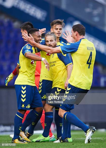 Kevin Mensah Kasper Fisker Jan Kliment and Benedikt Rocker of Brondby IF celebrate after scoring their fourth goal during the Danish Alka Superliga...