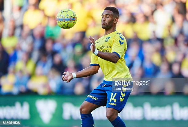 Kevin Mensah of Brondby IF controls the ball during the UEFA Europa League Qualification match between Brondby IF and VPS Vaasa at Brondby Stadion on...