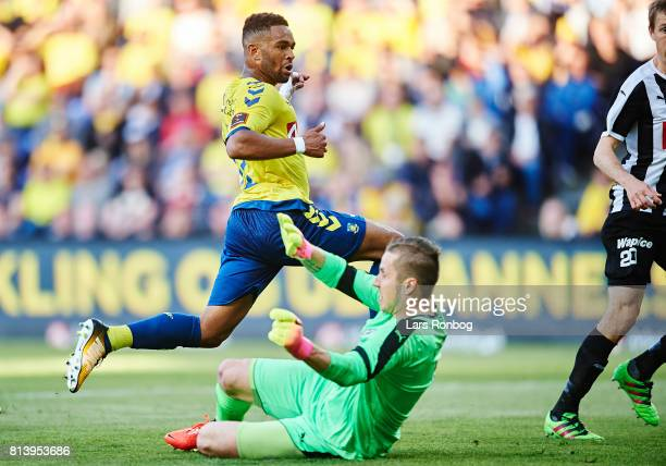Kevin Mensah of Brondby IF in action against goalkeeper Marko Meerits of VSP Vaasa during the UEFA Europa League Qualification match between Brondby...