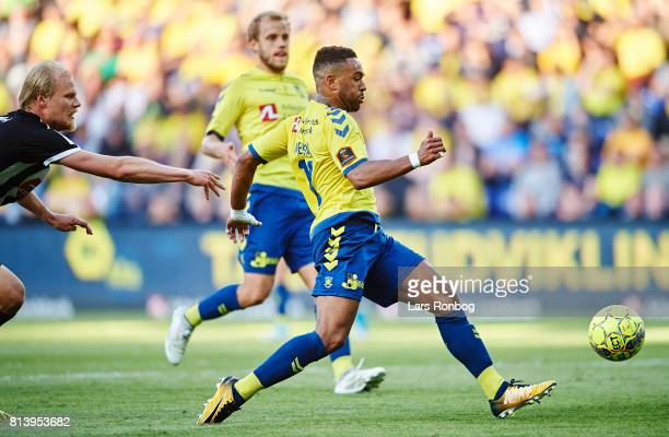 Kevin Mensah of Brondby IF in action during the UEFA Europa League Qualification match between Brondby IF and VPS Vaasa at Brondby Stadion on July 13...