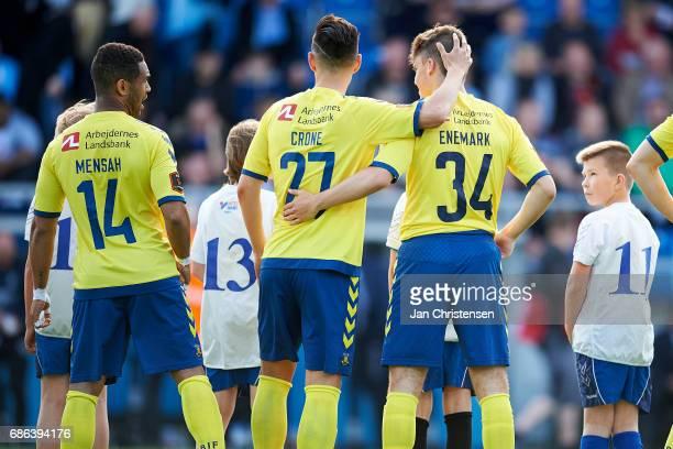 Kevin Mensah of Brondby IF Svenn Crone of Brondby IF and Christian Enemark of Brondby IF prior to the Danish Alka Superliga match between SonderjyskE...