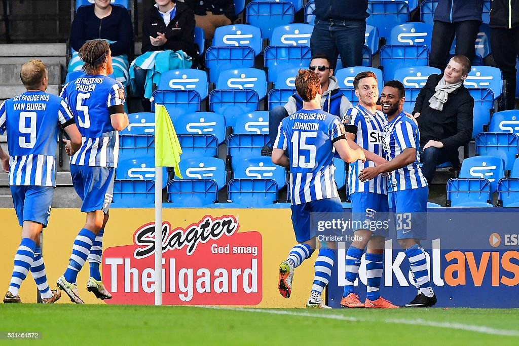 Kevin Mensah of Esbjerg fB celebrates his goal with teammates. The Danish Alka Superliga match between Esbjerg fB and FC Copenhagen at Blue Water Arena on May 26, 2016 in Esbjerg, Denmark.