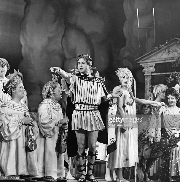 Kevin Miller as Orpheus and Cynthia Morey as Calliope in a scene from a Sadler's Wells production of Offenbach's opera 'Orpheus in the Underworld'...