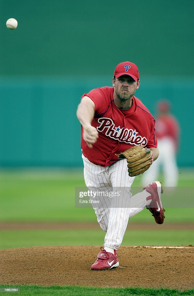 Kevin Millwood of the Philadelphia Phillies throws a pitch against the New York Yankees in a spring training game on February 28 2003 at Jack Russell...
