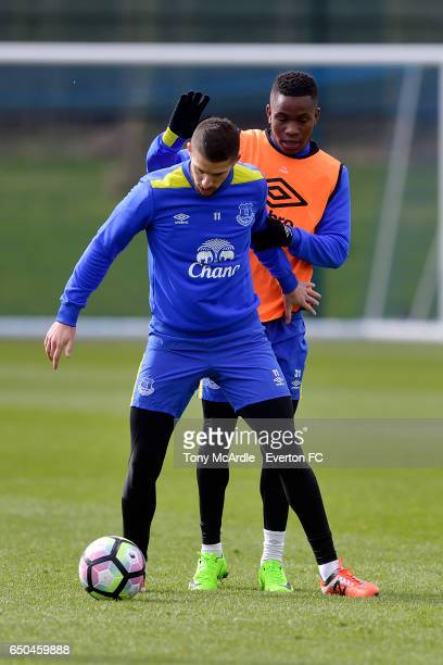 Kevin Mirallas and Ademola Lookman during the Everton FC training session at USM Finch Farm on March 9 2017 in Halewood England
