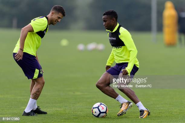 Kevin Mirallas and Ademola Lookman of Everton during preseason training on July 20 2017 in De Lutte Netherlands