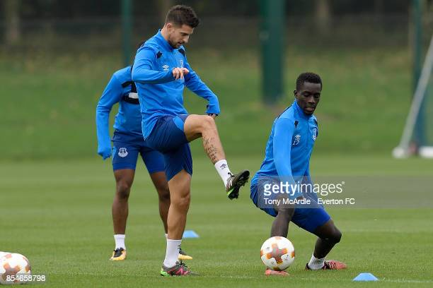 Kevin Mirallas and Idrissa Gueye during the Everton training session at USM Finch Farm on September 27 2017 in Halewood England