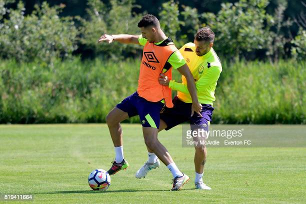 Kevin Mirallas and Morgan Schneiderlin of Everton during preseason training on July 18 2017 in De Lutte Netherlands