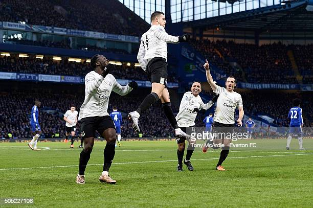 Kevin Mirallas celebrates his goal during the Barclays Premier League match between Chelsea and Eanderton at Stamford Bridge on January 16 2016 in...