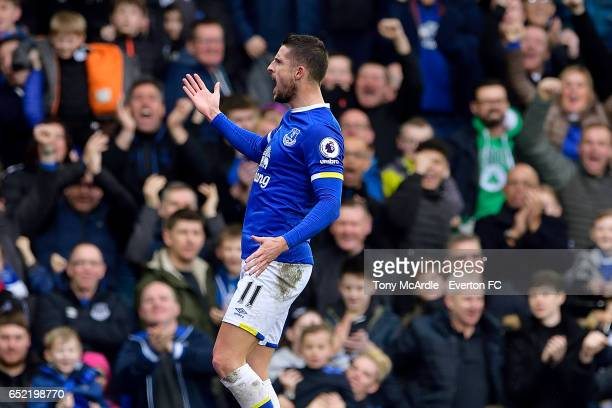 Kevin Mirallas celebrates his goal during the Premier League match between Everton and West Bromwich Albion at the Goodison Park on March 11 2017 in...
