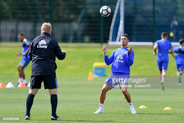 Kevin Mirallas controls the ball at Ronald Koeman's first training session as Everton manager at Finch Farm on July 5 2016 in Halewood England
