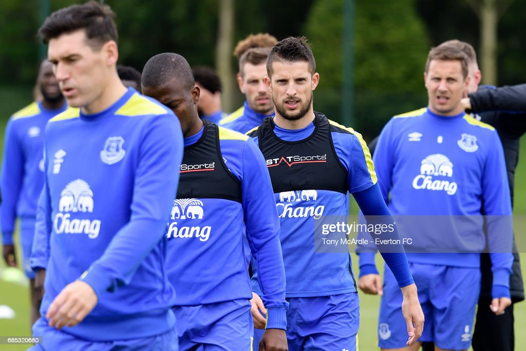 Kevin Mirallas during the Everton FC training session at USM Finch Farm on May 19, 2017 in Halewood, England.