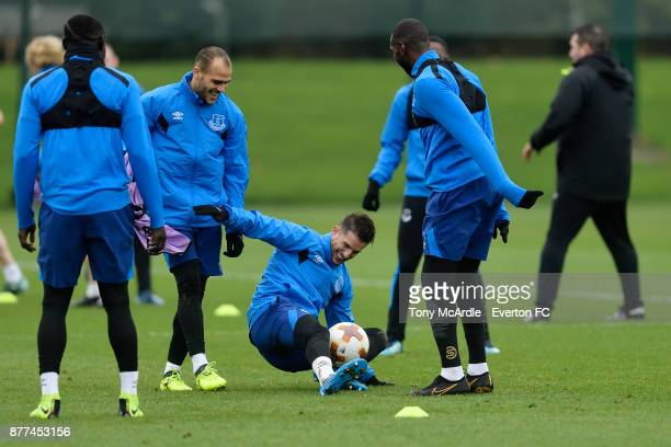 Kevin Mirallas during the Everton training session ahead of the UEFA Europa League match against Atalanta at USM Finch Farm on November 22 2017 in...