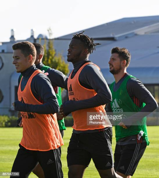 Kevin Mirallas forward of Belgium and Thorgan Hazard midfielder of Belgium with Michy Batshuayi forward of Belgium during training session of the...