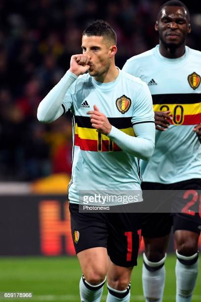 Kevin Mirallas forward of Belgium celebrates scoring a goal during the International Friendly Match before the FIFA World Cup 2018 in Russia between...