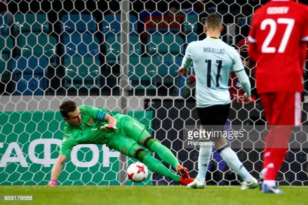 Kevin Mirallas forward of Belgium scores his penalty and Igor Akinfeev goalkeeper of Russia during the International Friendly Match before the FIFA...