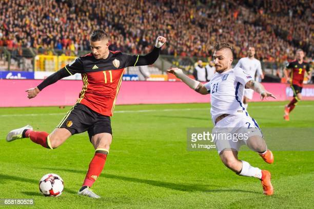 Kevin Mirallas of Belgium Konstantinos Stafylidis of Greeceduring the FIFA World Cup 2018 qualifying match between Belgium and Bosnie Herzegowina on...