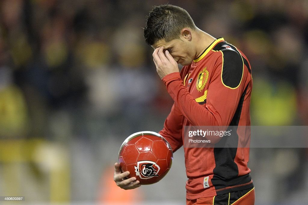 Kevin Mirallas of Belgium shows dejection during the international friendly match before the World Cup in Brasil between Belgium and Japan on November 19, 2013 in Brussels, Belgium