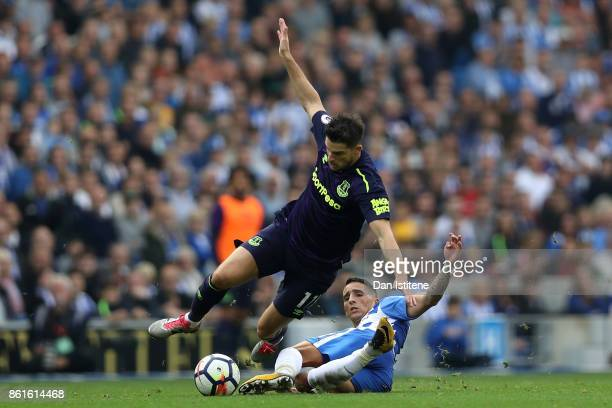 Kevin Mirallas of Everton and Anthony Knockaert of Brighton and Hove Albion during the Premier League match between Brighton and Hove Albion and...