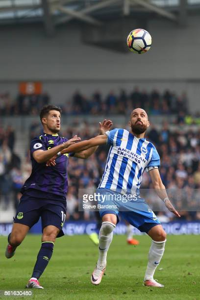 Kevin Mirallas of Everton and Bruno Saltor of Brighton and Hove Albion during the Premier League match between Brighton and Hove Albion and Everton...
