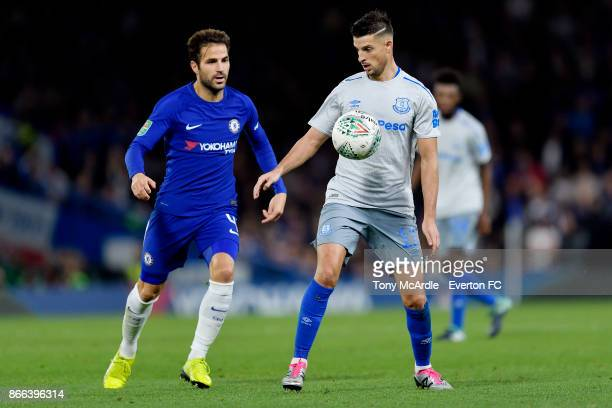 Kevin Mirallas of Everton and Cesc Fabregas during the Carabao Cup Fourth Round match between Chelsea and Everton at Stamford Bridge on October 25...