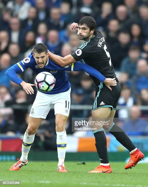 Kevin Mirallas of Everton and Claudio Yacob of West Bromwich Albion battle for possession during the Premier League match between Everton and West...