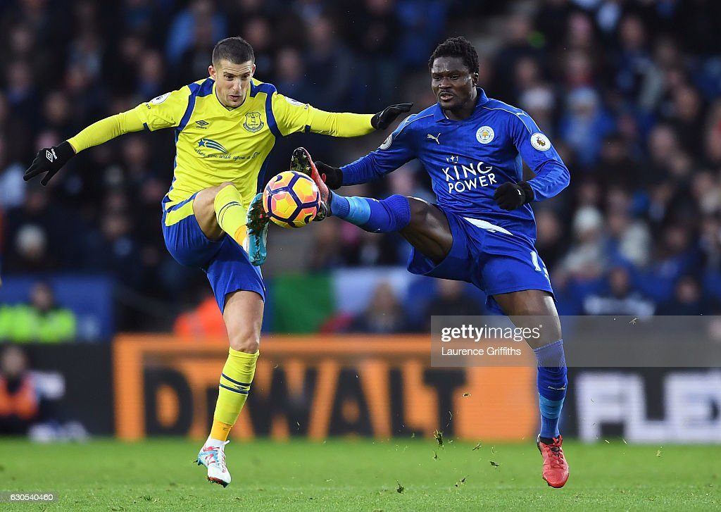 Kevin Mirallas of Everton and Daniel Amartey of Leicester City compete for the ball during the Premier League match between Leicester City and Everton at The King Power Stadium on December 26, 2016 in Leicester, England.