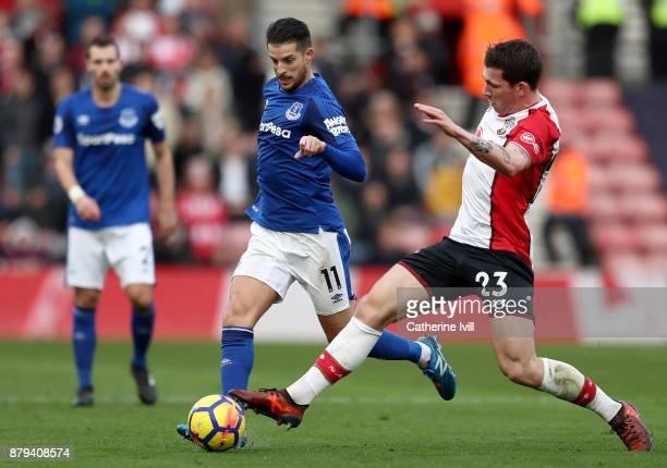 Kevin Mirallas of Everton and PierreEmile Hojbjerg of Southampton during the Premier League match between Southampton and Everton at St Mary's...