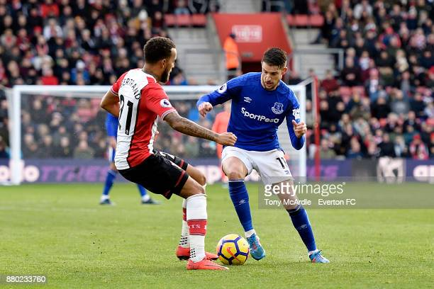 Kevin Mirallas of Everton and Ryan Bertrand challenge for the ball during the Premier League match between Southampton and Everton at St Mary's...