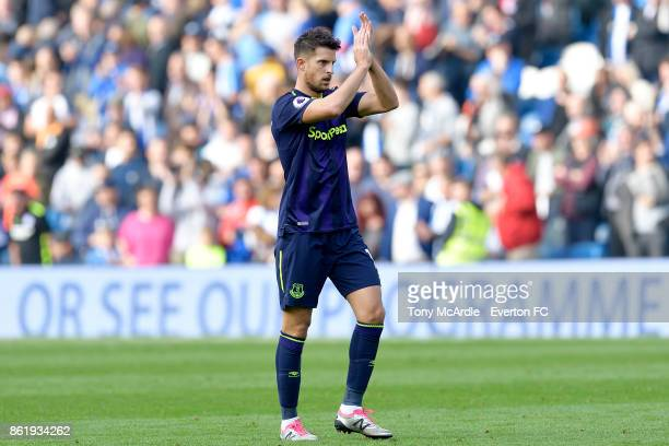 Kevin Mirallas of Everton applauds the travelling fans during the Premier League match between Brighton and Hove Albion and Everton at Amex Stadium...
