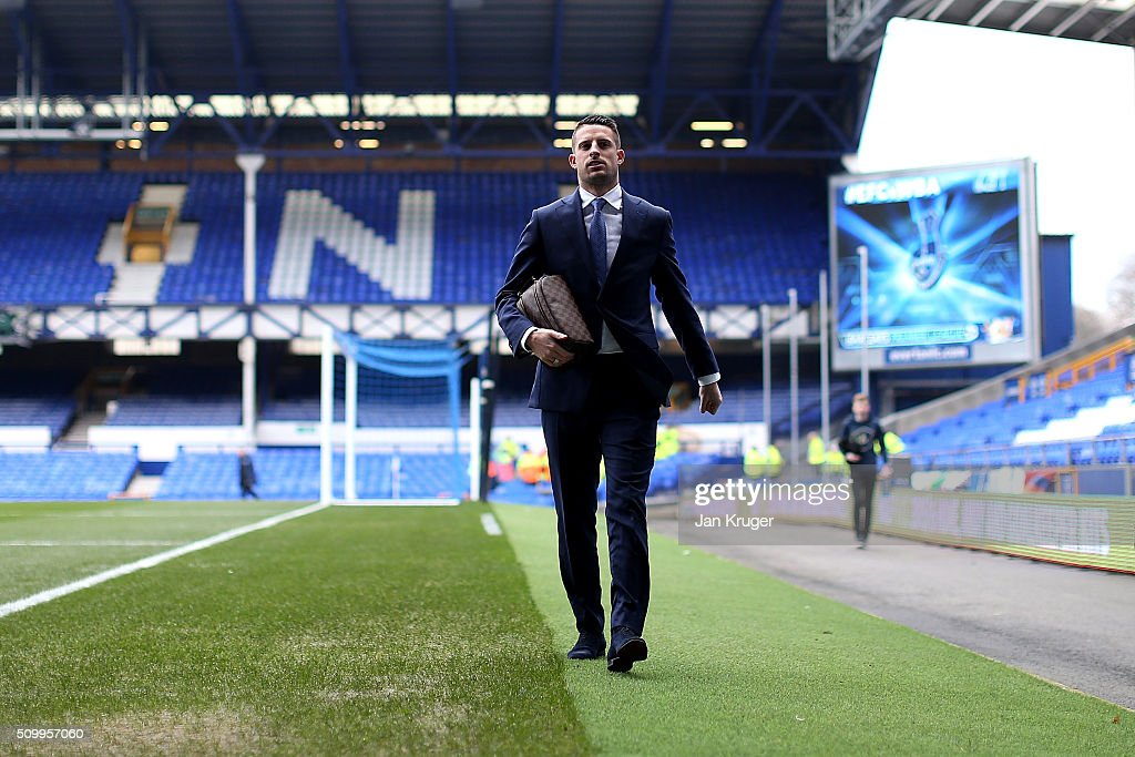 <a gi-track='captionPersonalityLinkClicked' href=/galleries/search?phrase=Kevin+Mirallas&family=editorial&specificpeople=745704 ng-click='$event.stopPropagation()'>Kevin Mirallas</a> of Everton arrives prior to kick off in the Barclays Premier League match between Everton and West Bromwich Albion at Goodison Park on February 13, 2016 in Liverpool, England.