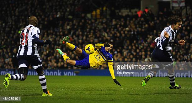 Kevin Mirallas of Everton attempts a spectacular shot at goal during the Barclays premier league match between West Bromwich Albion and Everton at...