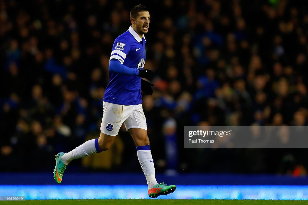 Kevin Mirallas of Everton celebrates after scoring a goal during the Barclays Premier League match between Everton and Aston Villa at Goodison Park on February 1, 2014 in Liverpool, England.