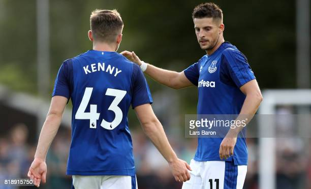 Kevin Mirallas of Everton celebrates after scoring his teams first goal during a preseason friendly match between FC Twente and Everton FC at...