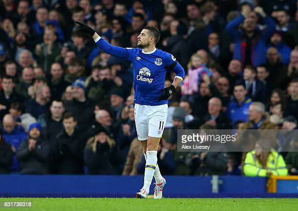 Kevin Mirallas of Everton celebrates after scoring his team's second goal during the Premier League match between Everton and Manchester City at...