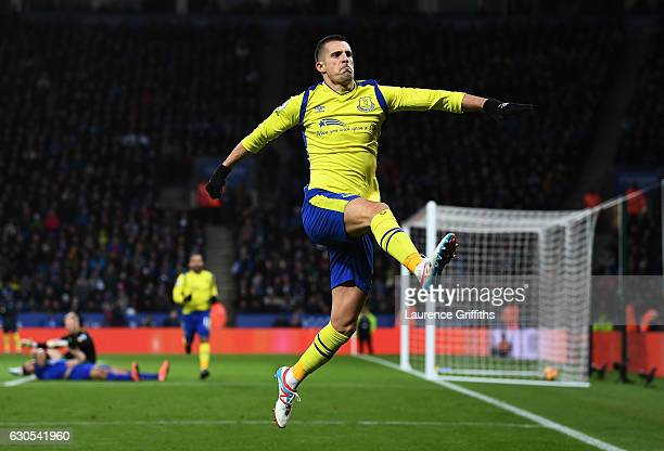 Kevin Mirallas of Everton celebrates after scoring the opening goal during the Premier League match between Leicester City and Everton at The King...