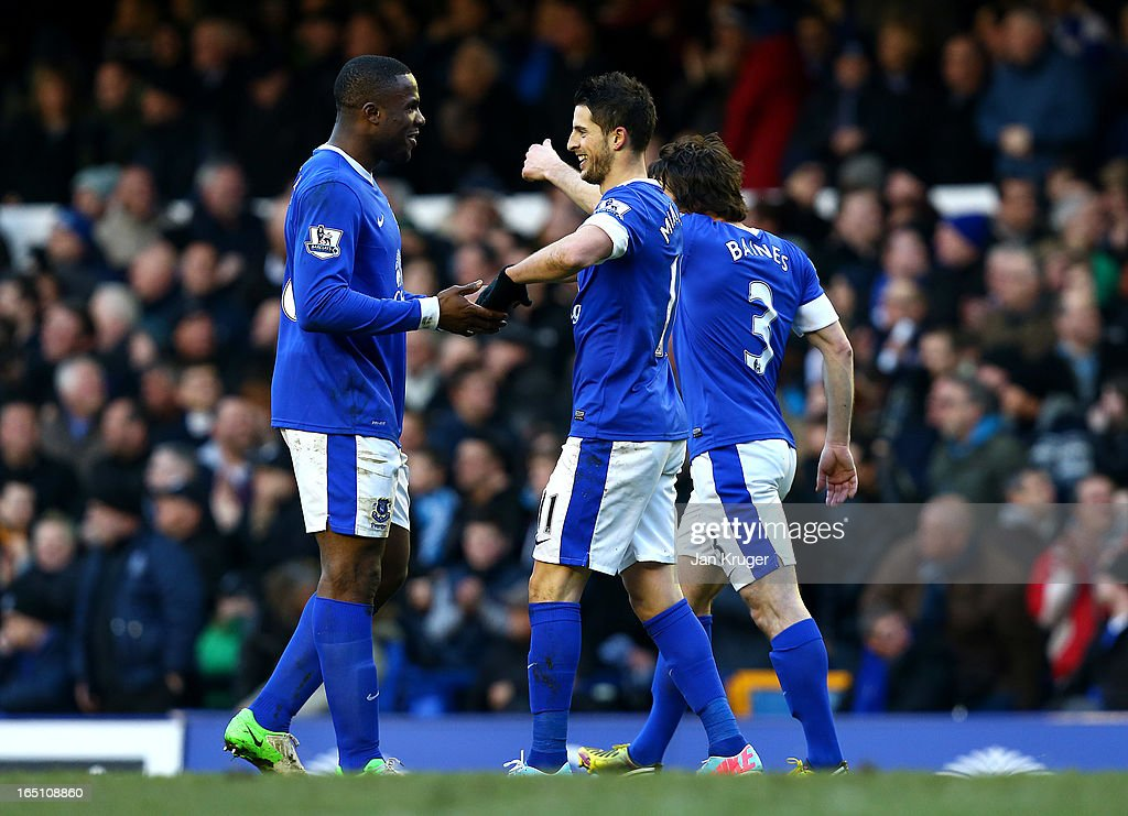 <a gi-track='captionPersonalityLinkClicked' href=/galleries/search?phrase=Kevin+Mirallas&family=editorial&specificpeople=745704 ng-click='$event.stopPropagation()'>Kevin Mirallas</a> of Everton celebrates his goal with team mate <a gi-track='captionPersonalityLinkClicked' href=/galleries/search?phrase=Victor+Anichebe&family=editorial&specificpeople=740464 ng-click='$event.stopPropagation()'>Victor Anichebe</a> during the Barclays Premier League match between Everton and Stoke City at Goodison Park on March 30, 2013 in Liverpool, England.