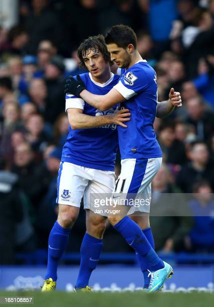 Kevin Mirallas of Everton celebrates his goal with teammate Leighton Baines during the Barclays Premier League match between Everton and Stoke City...