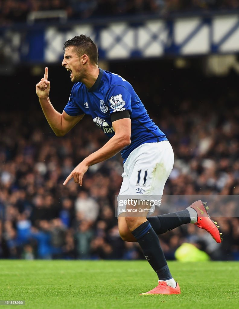 Kevin Mirallas of Everton celebrates scoring his goal during the Barclays Premier League match between Everton and Chelsea at Goodison Park on August 30, 2014 in Liverpool, England.