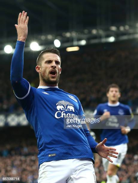 Kevin Mirallas of Everton celebrates scoring his sides first goal during the Premier League match between Everton and West Bromwich Albion at...