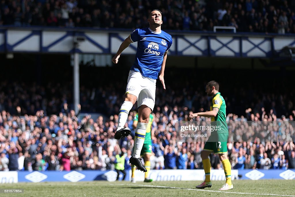 Kevin Mirallas of Everton celebrates scoring his team's third goal during the Barclays Premier League match between Everton and Norwich City at Goodison Park on May 15, 2016 in Liverpool, England.