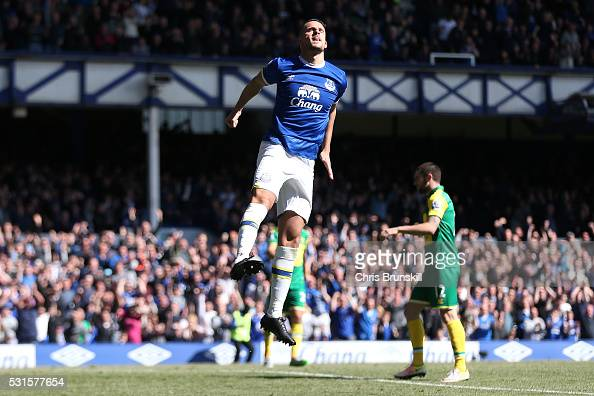Kevin Mirallas of Everton celebrates scoring his team's third goal during the Barclays Premier League match between Everton and Norwich City at...
