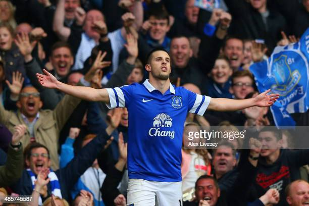 Kevin Mirallas of Everton celebrates scoring their second goal during the Barclays Premier League match between Everton and Manchester United at...